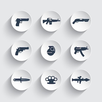 Conjunto de iconos de armas, pistola, pistolas, rifle, revólver, escopeta, granada, cuchillo, lanzacohetes, arma de fuego, explosivo