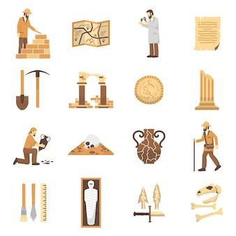 Conjunto de iconos de arqueología