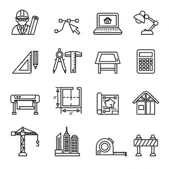 Conjunto de iconos de arquitectura y construcción.