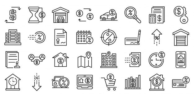 Conjunto de iconos de arrendamiento, estilo de contorno