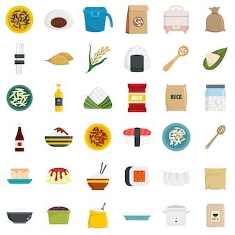 Conjunto de iconos de arroz