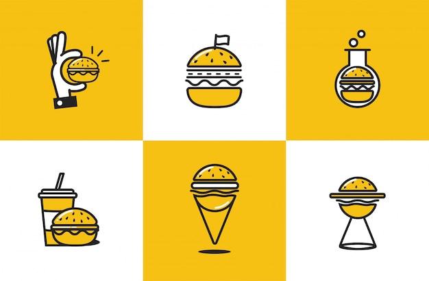 Conjunto de iconos de arte de línea de hamburguesa