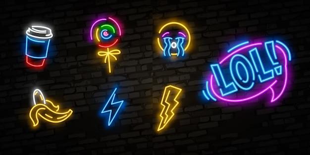 Conjunto de iconos de arte pop. muestra de neón del arte pop. letrero luminoso, estandarte ligero.