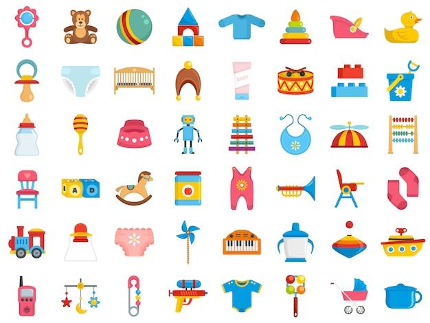 Conjunto de iconos de artículos para bebé