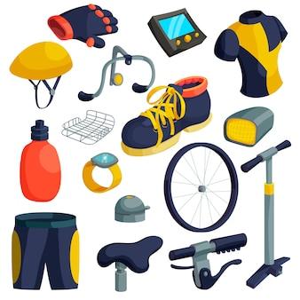 Conjunto de iconos de artículos de bicicleta. ilustración de dibujos animados de 16 iconos de artículos de bicicleta para web