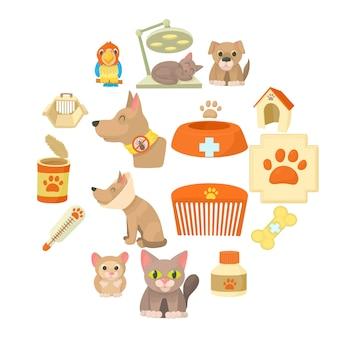 Conjunto de iconos de artículos de clínica veterinaria, estilo de dibujos animados