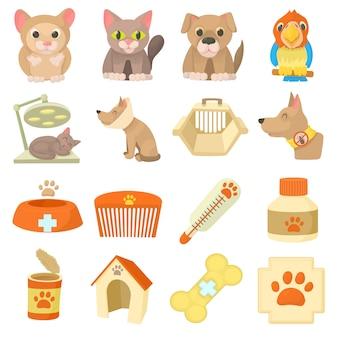 Conjunto de iconos de artículos de clínica veterinaria