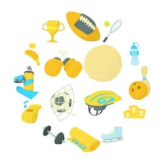 Conjunto de iconos de artículos de deporte, estilo de dibujos animados