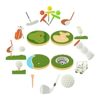 Conjunto de iconos de artículos de golf, estilo de dibujos animados