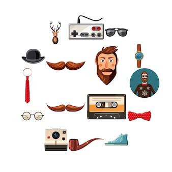 Conjunto de iconos de artículos hipster, estilo de dibujos animados