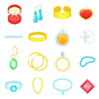 Conjunto de iconos de artículos de joyería