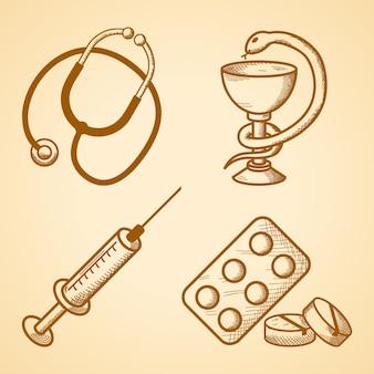 Conjunto de iconos de artículos médicos