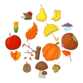 Conjunto de iconos de artículos de otoño, estilo de dibujos animados