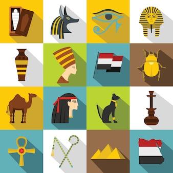 Conjunto de iconos de artículos de viaje de egipto, estilo plano