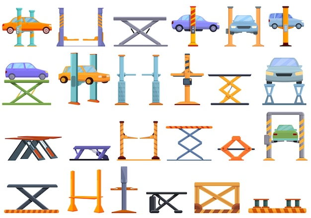 Conjunto de iconos de ascensor de coche. iconos de ascensor de coche