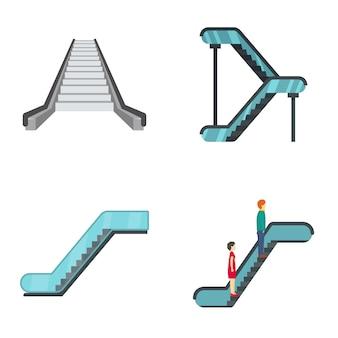 Conjunto de iconos de ascensor de escalera mecánica