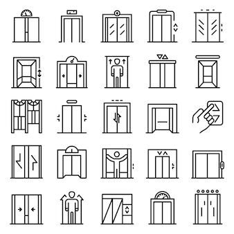 Conjunto de iconos de ascensor, estilo de contorno