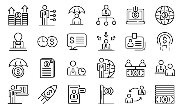 Conjunto de iconos de asesor financiero, estilo de contorno