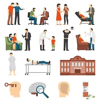 Conjunto de iconos de asesoramiento psicólogo