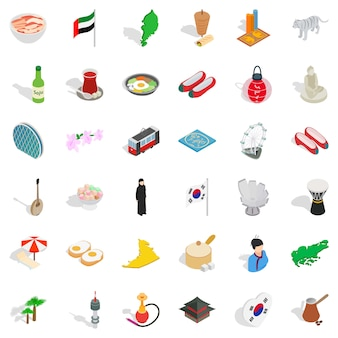 Conjunto de iconos de asia, estilo isométrico