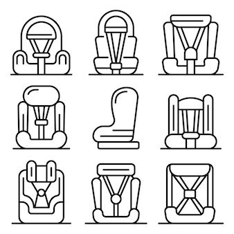 Conjunto de iconos de asiento de coche de bebé, estilo de contorno