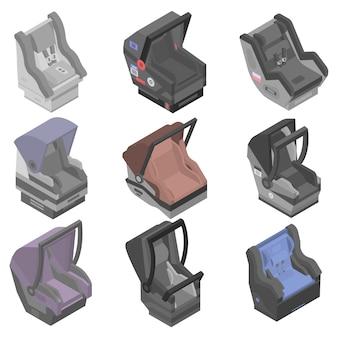 Conjunto de iconos de asiento de coche de bebé, estilo isométrico