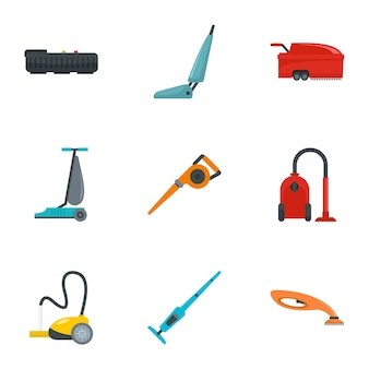 Conjunto de iconos de aspiradora. conjunto plana de 9 iconos de vector de aspiradora