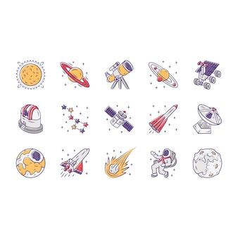 Conjunto de iconos de astronomía