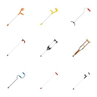 Conjunto de iconos de atención de apoyo de lesiones muletas