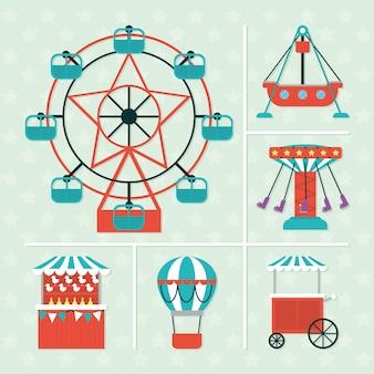 Conjunto de iconos de atracciones de feria de carnaval