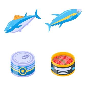 Conjunto de iconos de atún, estilo isométrico