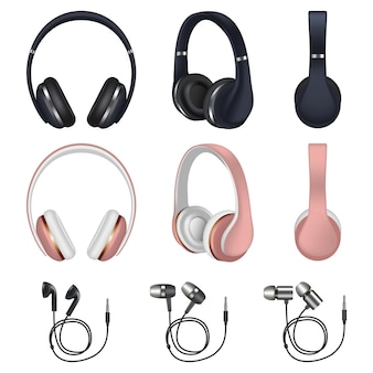 Conjunto de iconos de auriculares, estilo realista