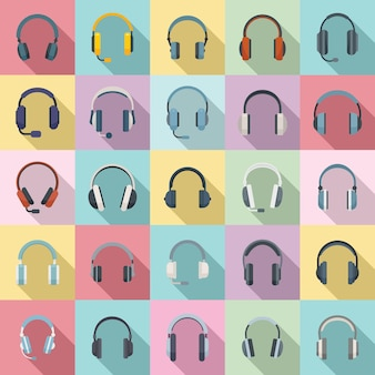 Conjunto de iconos de auriculares vector plano. accesorio de audio. auriculares con cable