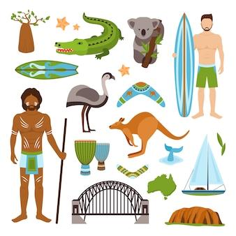 Conjunto de iconos de australia