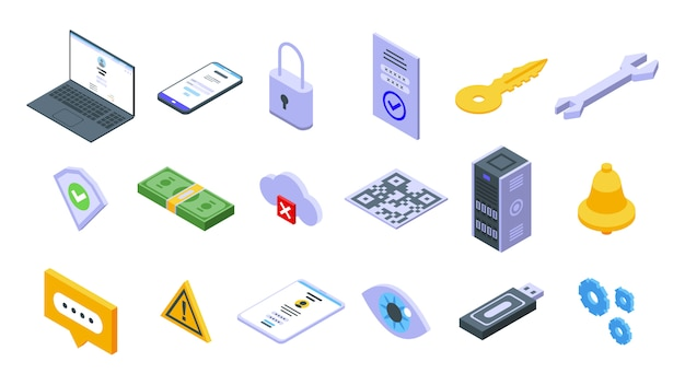 Conjunto de iconos de autenticación multifactor, estilo isométrico