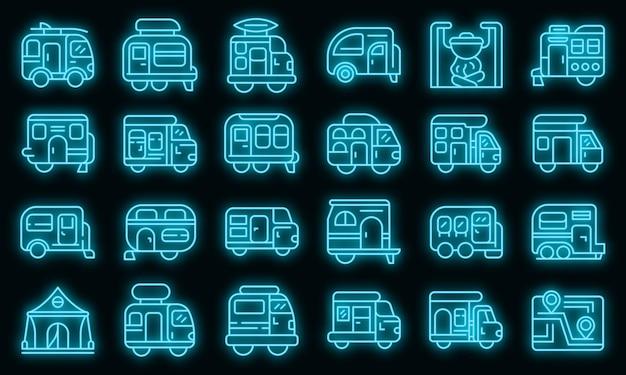 Conjunto de iconos de auto camping. esquema conjunto de iconos de vector de auto camping color neón en negro