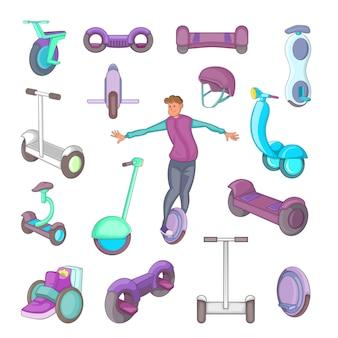 Conjunto de iconos de auto equilibrio scooter
