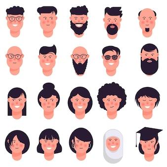 Conjunto de iconos de avatar aislado sobre fondo blanco.
