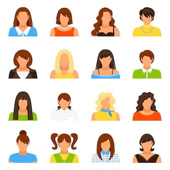 Conjunto de iconos de avatar de mujer