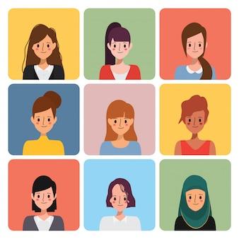 Conjunto de iconos de avatar de personaje de mujer.