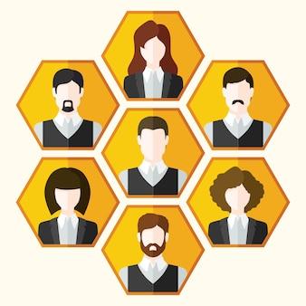 Conjunto de iconos de avatar de personajes masculinos y femeninos.