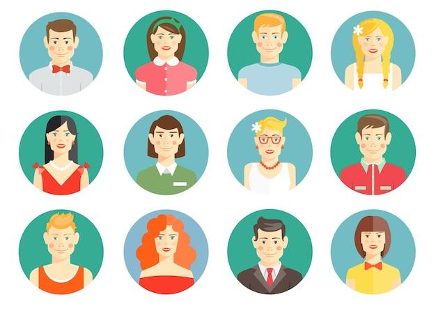 Conjunto de iconos de avatar de personas diversas con hombres y mujeres, niñas y niños
