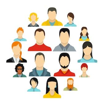 Conjunto de iconos de avatares, estilo plano