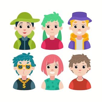 Conjunto de iconos de avatares de inicio joven