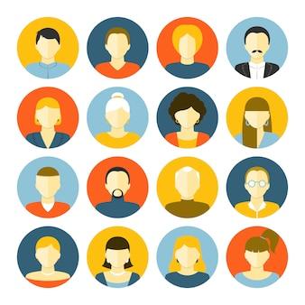 Conjunto de iconos de avatares
