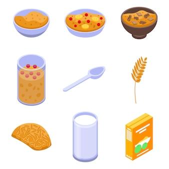 Conjunto de iconos de avena, estilo isométrico