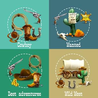 Conjunto de iconos de aventuras de wild west