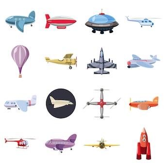Conjunto de iconos de aviación, estilo de dibujos animados