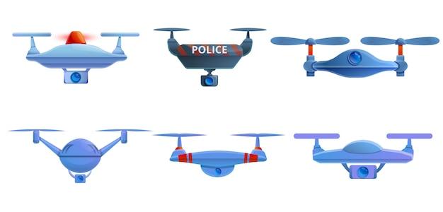 Conjunto de iconos de aviones no tripulados de policía, estilo de dibujos animados
