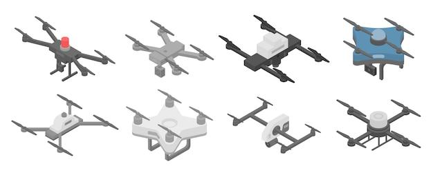 Conjunto de iconos de aviones no tripulados de la policía, estilo isométrico